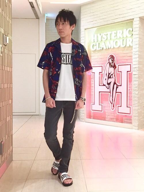 タカシマヤ ゲートタワーモール店RYUさんのシャツ/ブラウス「SHOCKING ISLAND総柄シャツ(HYSTERIC GLAMOUR|ヒステリックグラマー)」を使ったコーディネート