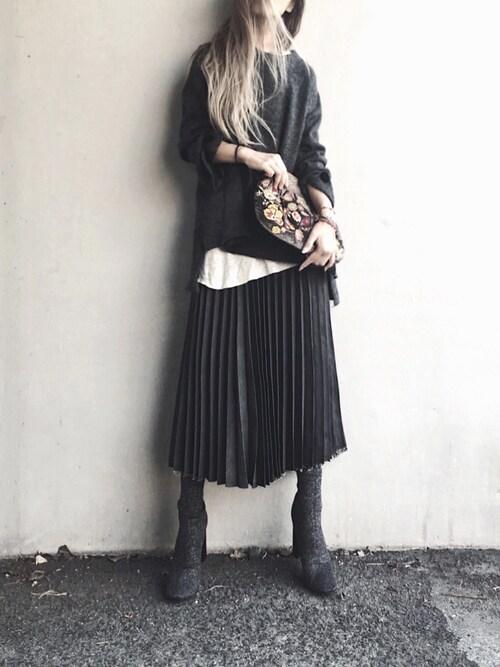 Lilyさんのデニムスカート「【新色】【WEB限定】デニムプリーツ�A(Ne-net ネネット)」を使ったコーディネート