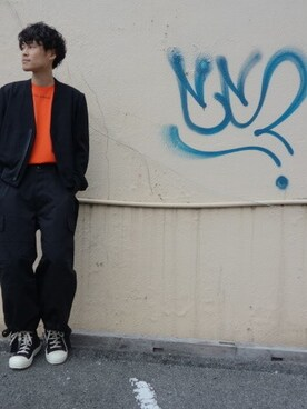 one pair|ONEPAIRさんの「ESSAY J-2 COLLAR LESS SHORT BLOUSON(ESSAY)」を使ったコーディネート