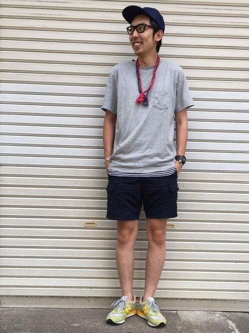 短パン スニーカーコーデ メンズ 春 夏 秋のおしゃれな脱力感 Lv333