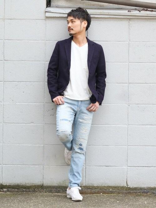Japan Blue OfficialJAPAN BLUEさんのデニムパンツ「CALIF. Beverly / スリムテーパードフィット(JAPAN BLUE JEANS ジャパンブルージーンズ)」を使ったコーディネート