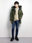 "武井一輝 is wearing Levi's ""DOWN DAVIDSON PARKA OLIVE NIGHT"""