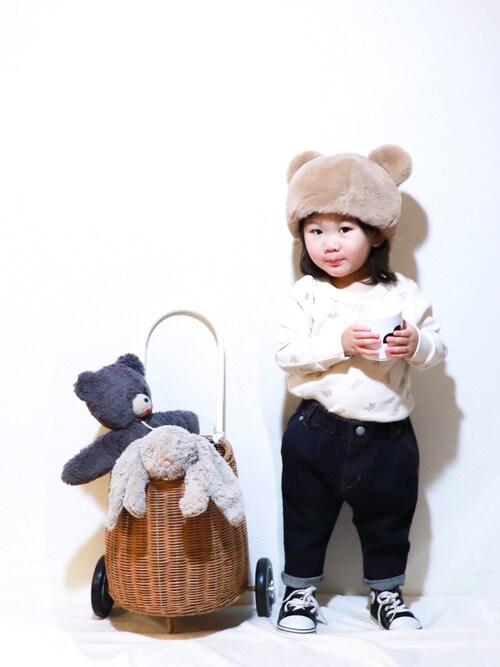 KISA / SANAさんのキャップ「【GRIN BUDDY(グリンバディ)】アニマルモチーフのファー帽子/Animal Fur Hat(GRIN BUDDY グリンバディ)」を使ったコーディネート