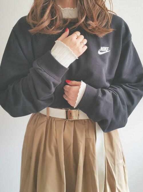 Ayumiさんのスカート「ガチャベルト付きロングフレアスカート(w closet|ダブルクローゼット)」を使ったコーディネート