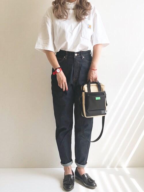 AyumiさんのTシャツ/カットソー「carhartt(カーハート) ビッグシルエット ポケット半袖 ロゴ Tシャツ Workwear Pocket 1/2 Sleeve T-Shirts(Carhartt|カーハート)」を使ったコーディネート