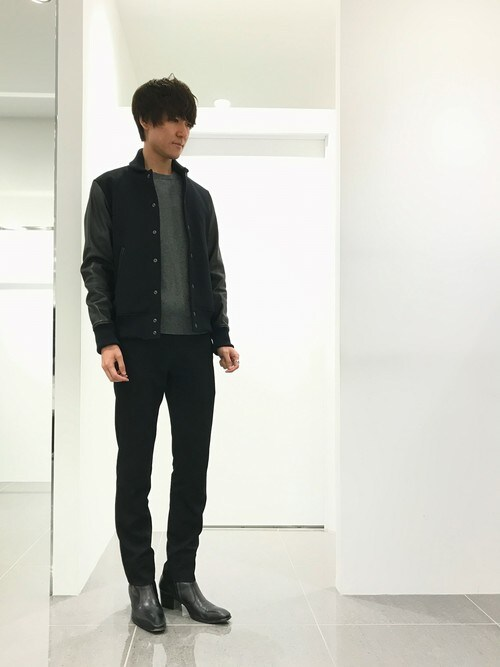 LITHIUM原宿本店さんの「SUPER 100'S WOOL×LAMB LEATHER STADIUM JUMPER(LITHIUM HOMME)」を使ったコーディネート
