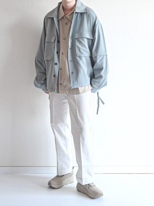 ゆうげんさんの「TRストレッチ 2way 袖ドッキング オーバーボックス CPO ヨーク付きコードシャツ(オールシーズン対応)(EMMA CLOTHES)」を使ったコーディネート