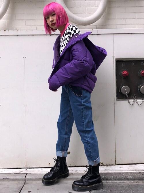 jouetiejouetie_daiaさんのダウンジャケット/コート「カラーフードダウン(jouetie|ジュエティ)」を使ったコーディネート
