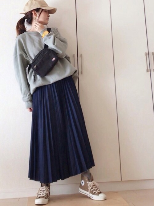 NAnaさんのデニムスカート「【追加生産】デニムプリーツ(Ne-net|ネネット)」を使ったコーディネート