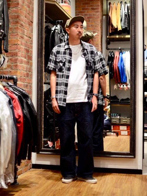 Schott TOKYO-BAYidaさんのTシャツ/カットソー「Schott/ショット/CREW NECK POCKET T SHIRT/ クルーネック ポケットTシャツ (430)(schott|ショット)」を使ったコーディネート