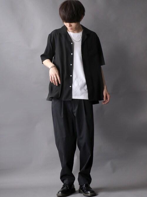Kanoさんの「Drape Open Collar Shirt/ドレープ オープンカラー シャツ(SITRY)」を使ったコーディネート