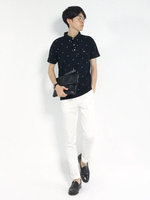 ZOZOTOWNMorikawa Yoshinoriさんのポロシャツ「総柄ポロシャツ(KRIFF MAYER|クリフメイヤー)」を使ったコーディネート