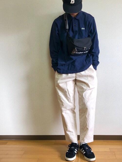 リーゴさんの「【Champion】ロゴワッペン ベースボールキャップ(Champion)」を使ったコーディネート