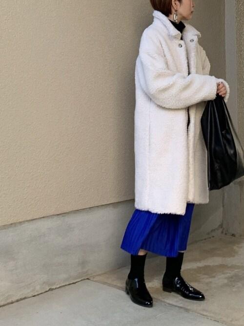 40代 ボアアウター ブルースカート