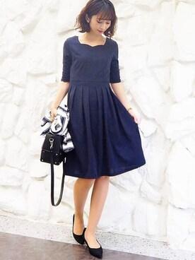 abe7b6b1a0eec Lace Ladies|Lace Ladiesさんの「七分袖フレアワンピース・ドレス(