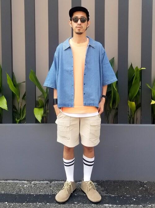 SUZUKISSさんの「【BENDER TOKYO】ライトデニム 5分袖 コーチジャケット(Revo.)」を使ったコーディネート