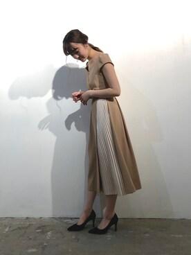 0356ffe2f430a LAGUNAMOON|藤井まりなさんの「LADYカシュクールシャインプリーツワンピース(LAGUNAMOON|ラグナ