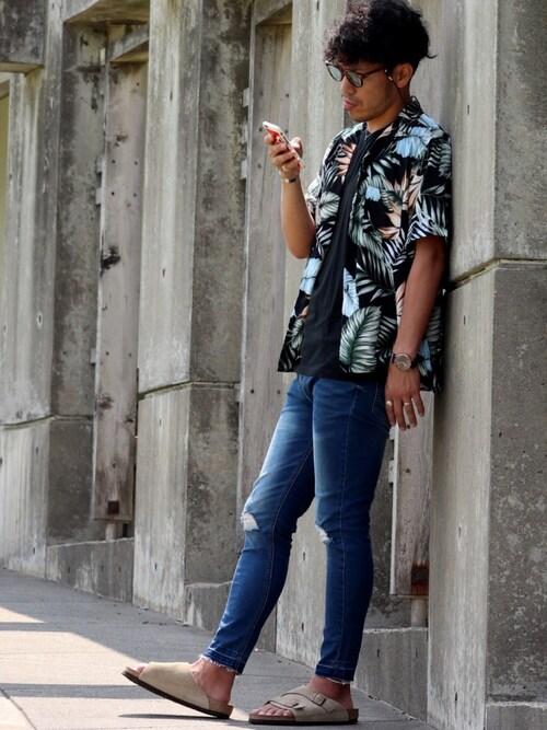 Kinch@nさんの「assort open collar shirt / 柄アソートオープンカラーシャツ(kutir)」を使ったコーディネート