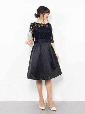 778bda81c8a17 ZOZOTOWN RINAさんのドレス「リボンベルト付きレース サテンフレア結婚式