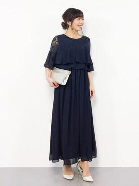 110606c3a6b2c ZOZOTOWN|RINAさんのドレス「レースフレアスリーブロングドレス(kana|カナ