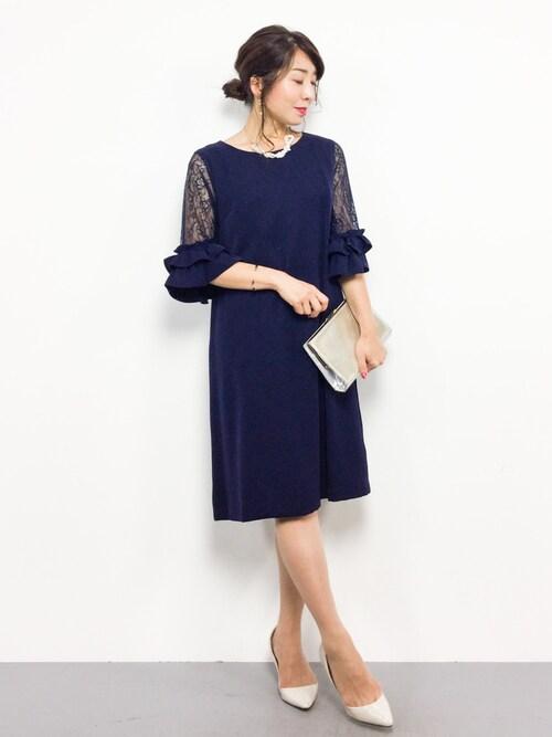 ZOZOTOWNRINAさんのドレス「スリーブコンシャスIラインワンピース/結婚式・お呼ばれ対応フォーマルパーティードレス(RUIRUE BOUTIQUE|ルイルエブティック)」を使ったコーディネート