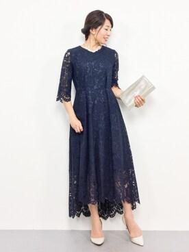 bcf16844a38a4 ZOZOTOWN|RINAさんのドレス「総レース七分袖イレヘムロング結婚式ワンピース