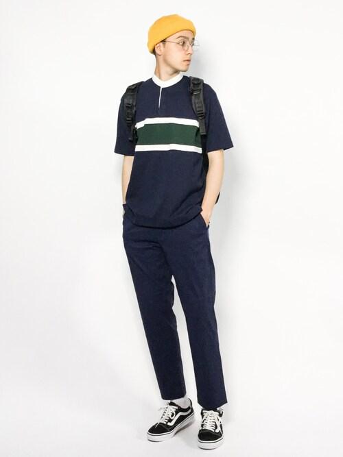 ZOZOTOWNタレスさんのTシャツ/カットソー「###SC シームボーダー バンドカラー / ラガーシャツ ◆(green label relaxing|グリーンレーベルリラクシング)」を使ったコーディネート