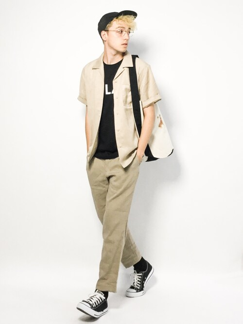 ZOZOTOWNタレスさんのシャツ/ブラウス「スウェード開襟シャツSS(nano・universe|ナノユニバース)」を使ったコーディネート
