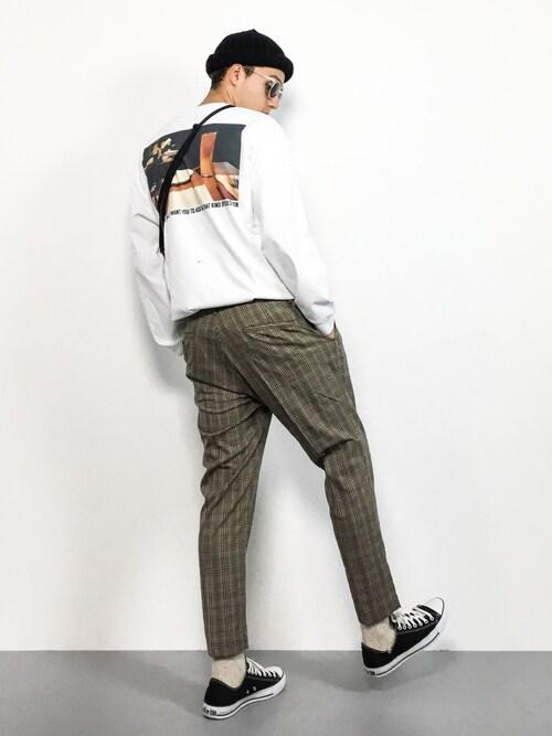 ZOZOTOWNタレスさんのTシャツ/カットソー「SKIN /スキン:Saturday L/S Tee#(JOURNAL STANDARD|ジャーナルスタンダード)」を使ったコーディネート