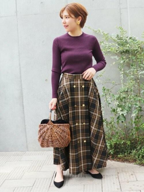 VERMEIL par iena 銀座店asahiさんのスカート「チェック金ボタンWフロント フレアスカート◆(VERMEIL par iena|ヴェルメイユパーイエナ)」を使ったコーディネート