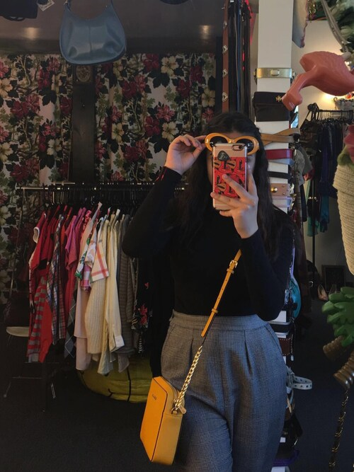 "fjngl is wearing MICHAEL Michael Kors ""MICHAEL Michael Kors Jet Set Travel Large Saffiano Crossbody Bag, Sun"""