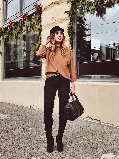 "Bethany Marie is wearing Rag & Bone ""rag & bone/JEAN 10 Inch Skinny Jeans, Washed Black"""