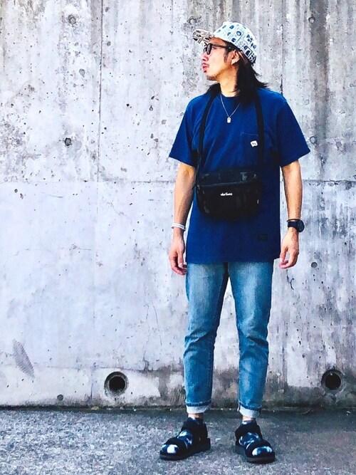 RATOさんの「JE MORGAN × BEAMS LIGHTS / 別注 鹿の子 インディゴ ポケットTシャツ(BEAMS LIGHTS)」を使ったコーディネート