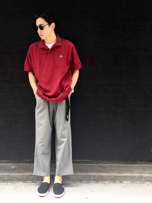 yossyさんの「『L.12.12』定番半袖ポロシャツ(LACOSTE)」を使ったコーディネート
