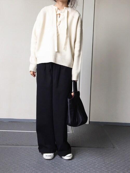 Chocorooさんのニット/セーター「フロントレースアップリボンニット(MODE ROBE|モードローブ)」を使ったコーディネート
