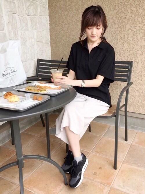 LACOSTE 三宮店SENA YASUEDAさんのポロシャツ「ハーフスリーブフェミニンポロシャツ(LACOSTE ラコステ)」を使ったコーディネート