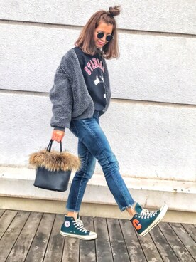 natsupooさんの「Converse  ALL STAR LETTERED-CARDIGAN(CONVERSE)」を使ったコーディネート