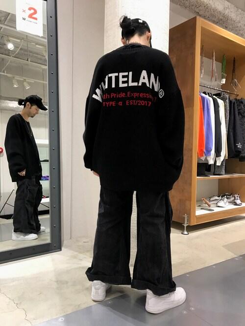 LHP 名古屋店shintaro itoさんのカーディガン「WHITELAND/ホワイトランド/BIGロゴカーディガン(WHITELAND BLACKBURN|ホワイトランドブラックバーン)」を使ったコーディネート