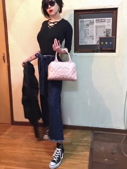 銀猫さんのTシャツ/カットソー「ダブルクロスリブカットソー(Girly Doll|ガーリードール)」を使ったコーディネート