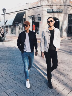 "Alex & Mike is wearing Topman ""Navy Bomber Jacket"""