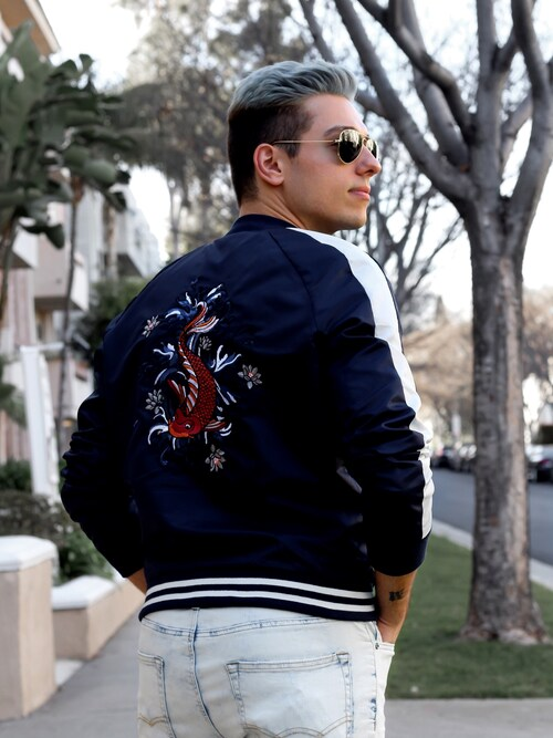 "Alex & Mike is wearing AMERICAN EAGLE OUTFITTERS ""American Eagle Outfitters AE Embroidered Souvenir Jacket"""