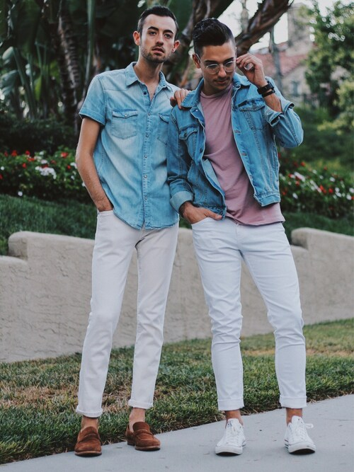 "Alex & Mike is wearing Calvin Klein ""Vintage Light Blue Denim Trucker Jacket"""