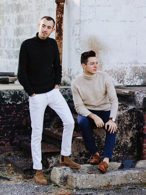 "Alex & Mike is wearing H&M ""H&M - Chunky-knit Turtleneck Sweater - Light beige melange - Ladies"""