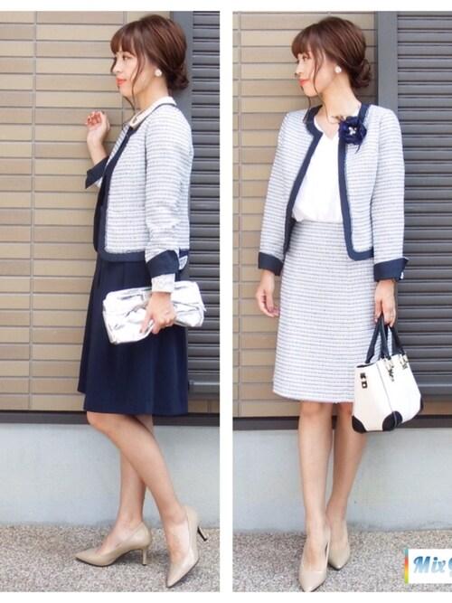 紺 スカートスーツ 30代 オシャレ VERY