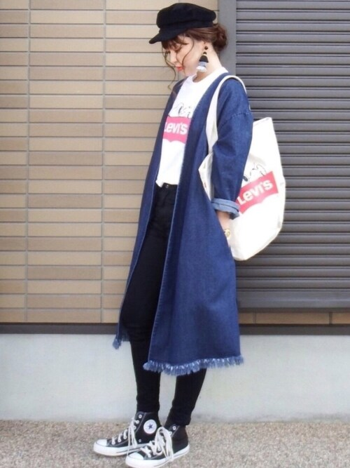 miho🅰ニニさんのトートバッグ「【LEVI'S(R)xPEANUTS(R)】SNOOPY TOTE(Levi's|リーバイス)」を使ったコーディネート