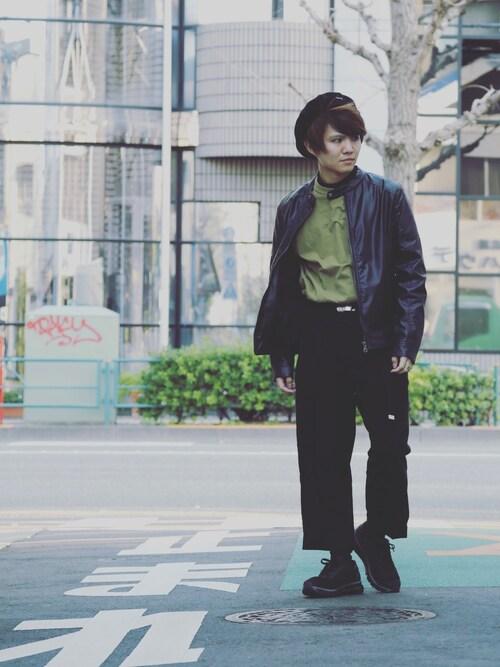 JEANSMATETSUKAKOSHIさんのTシャツ/カットソー「【CHAMPION】ワンポイントクルーネックTシャツ(Champion チャンピオン)」を使ったコーディネート