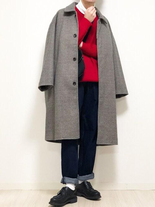 れぽすけさんの「オーバーサイズ ルーズスリーブ テックメルトン ロングバルカラーコート/ルーズステンカラーコート(EMMA CLOTHES)2020AW(EMMA CLOTHES)」を使ったコーディネート