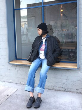 "vasitii is wearing Visvim ""Visvim - Social Sculptress フレアジーンズ - women - コットン - 3"""