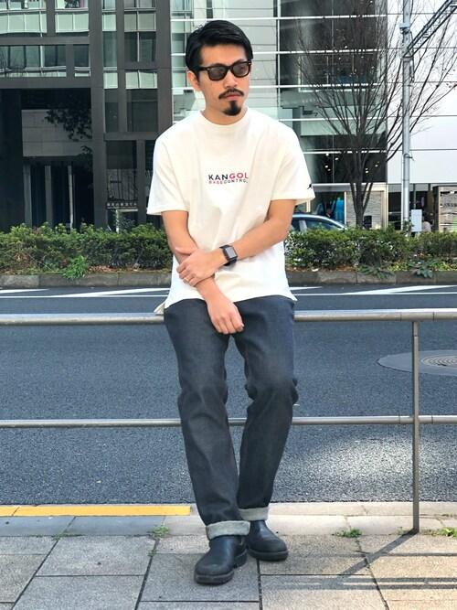 masaさんの「KANGOL カンゴール 別注 コラボ Tシャツ メンズ 胸刺繍 半袖Tシャツ(KANGOL)」を使ったコーディネート