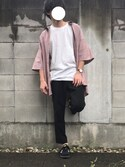 "おらふ is wearing WHO'S WHO gallery ""BIGダッドシャツS/S"""